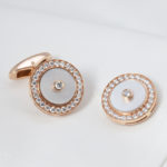 Rose Gold White Mother of Pearl and Diamond Cuff Links