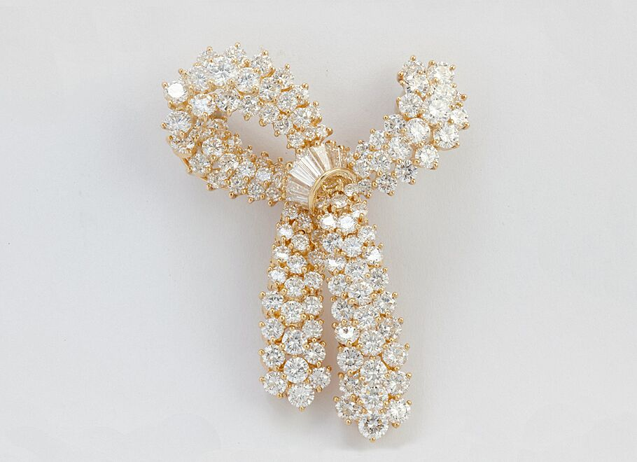 Yellow Gold Important Diamond Bow Brooch
