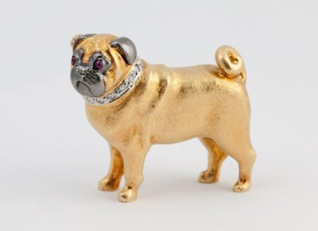 Yellow and White Gold Pug Brooch with Diamond Collar and Ruby Eyes