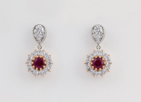 Platinum and Rose Gold Diamond and Burma Ruby Earrings