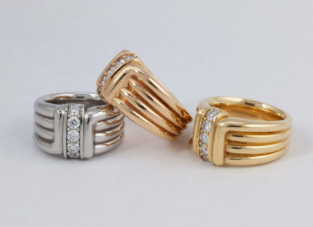 Platinum, Rose Gold, And Yellow Gold Ribbed Diamond Rings