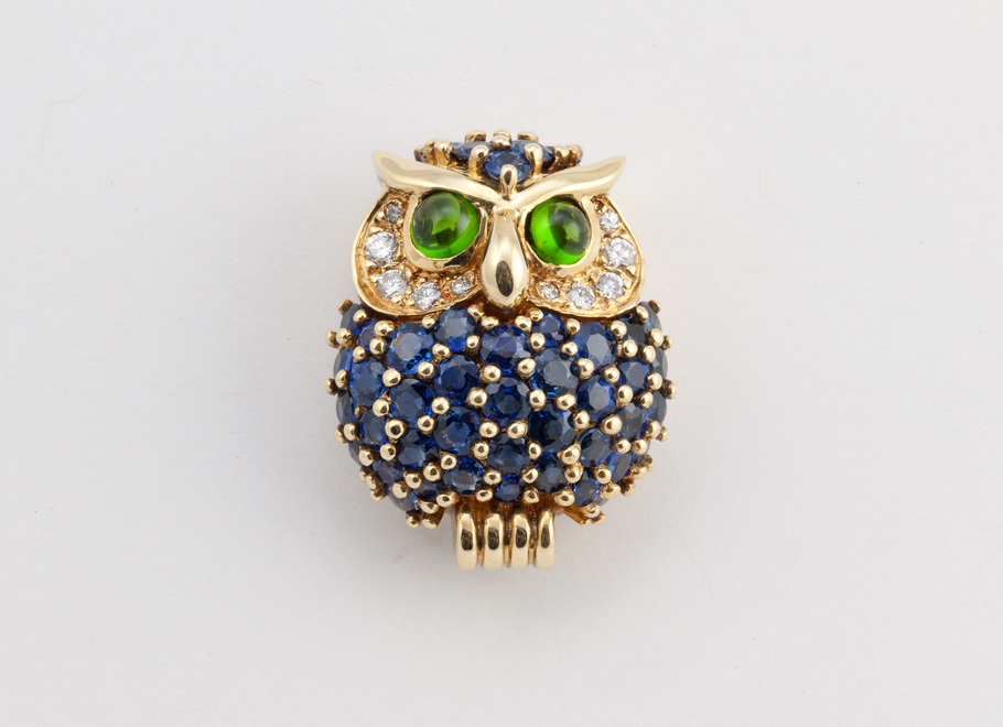 Yellow Gold Owl Brooch with Diamonds, Blue Sapphires, and Chrome Tourmalines