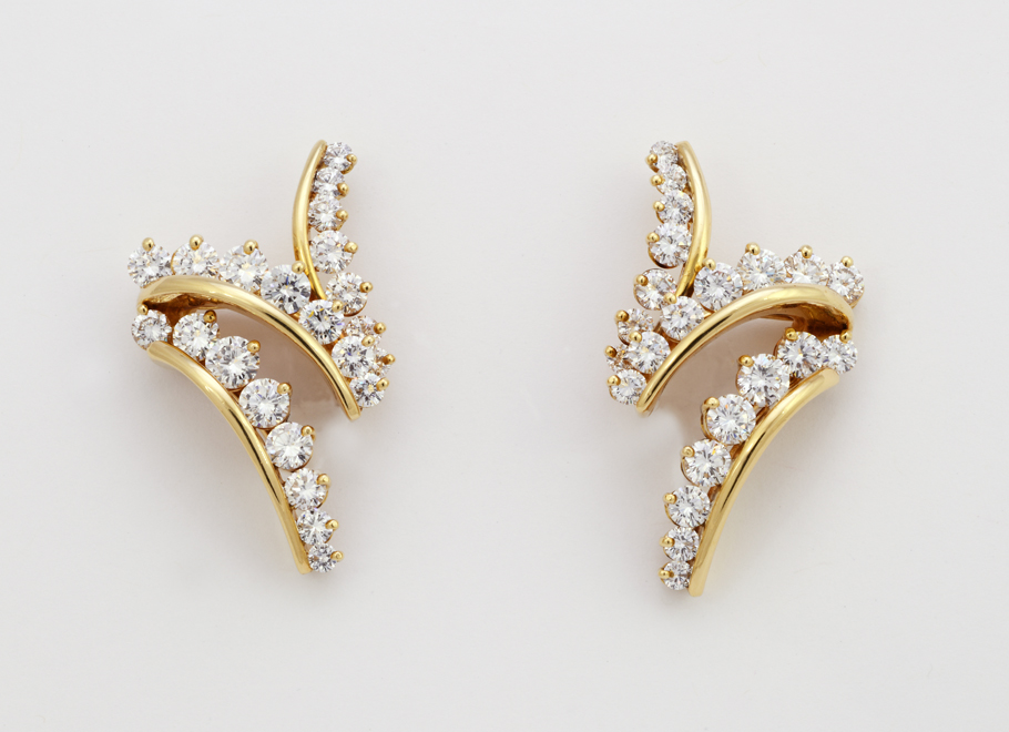 "Yellow Gold ""Zig-Zag"" Diamond Earrings"
