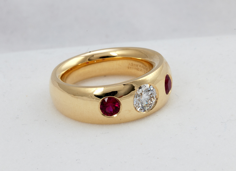 Yellow Gold Diamond and Burma Ruby Ring