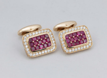 Yellow Gold Ruby and Diamond Cuff Links