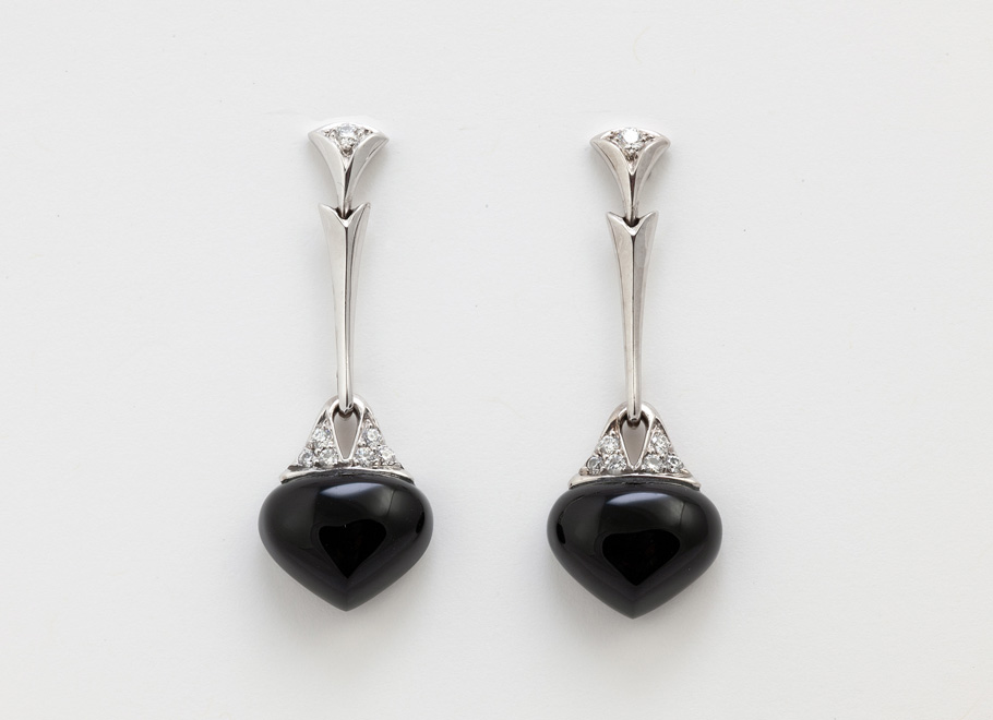 White Gold Black Onyx and Diamond Earrings