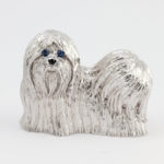 White Gold Shih Tzu Brooch with Blue Sapphires and Black Onyx