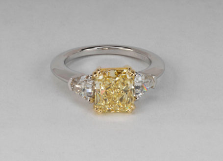 Platinum and Yellow Gold Yellow and Colorless Diamond Ring