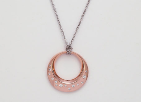 Rose and White Gold Diamond Circle Necklace